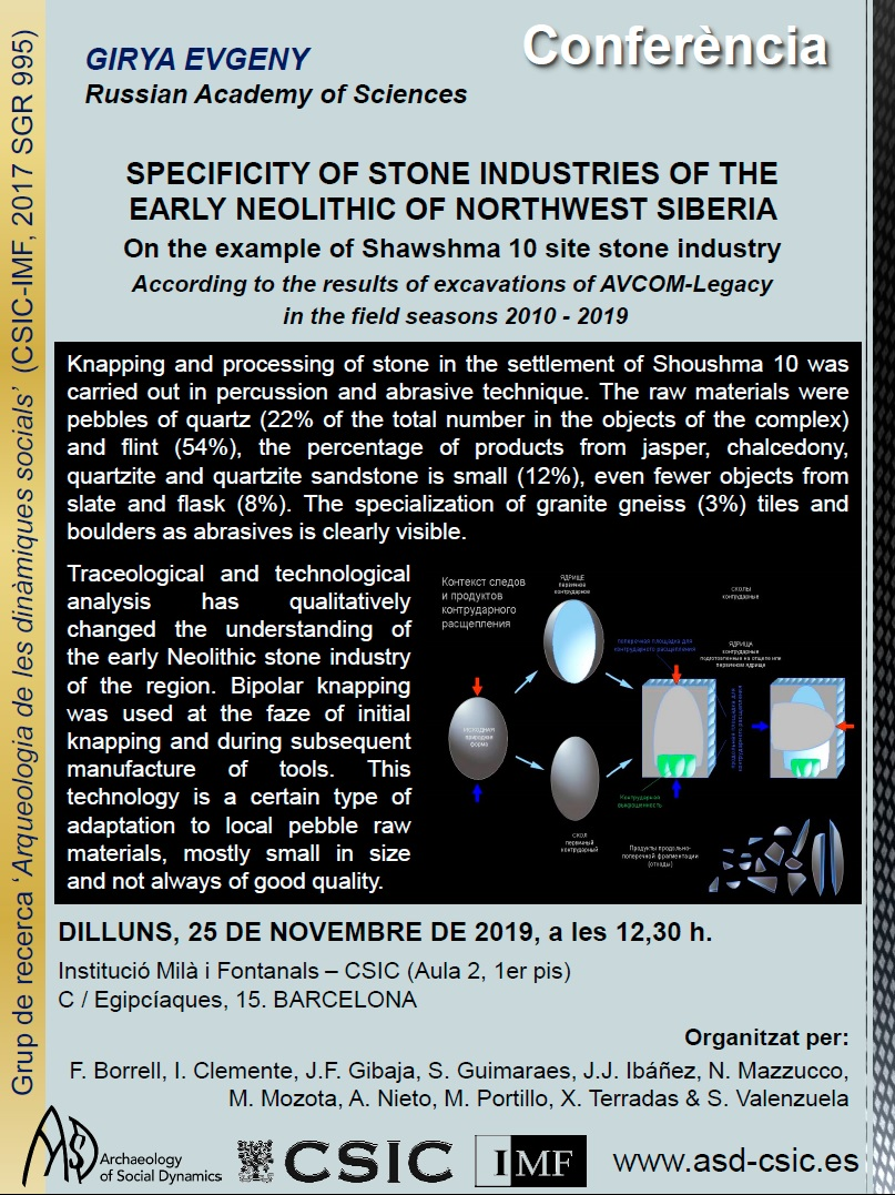 MONDAY 25/11/19: Open talk from E. Girya: specificity of stone industries of the early Neolithic of northwest Siberia